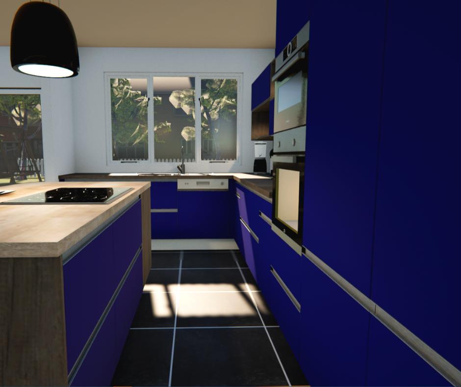 Tendance cuisine couleur bleu nuit